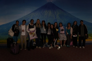 Posing in front of one of Philippines most famous landmark - Mayon Volcano