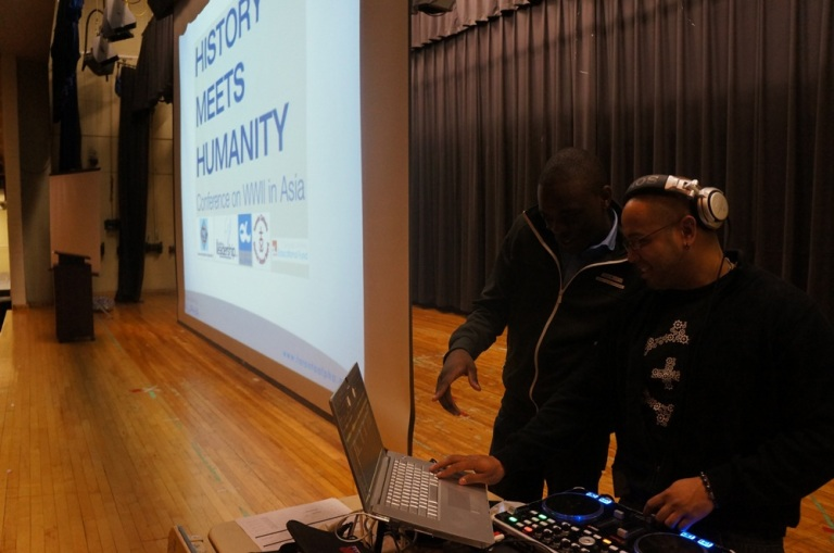 Stefan and Mikey always have fun setting up the DJ booth and multimedia needed for the day.