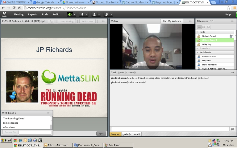 "Mike introduces our guest speaker, JP Richards, fro Metta Slim who was to speak about an event called, ""The Walking Dead."" Unfortunately he could not present due to technical difficulties :("