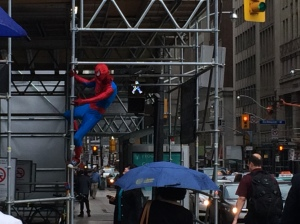 As we were giving out sandwiches, we spotted Spiderman! It was a very interesting day!