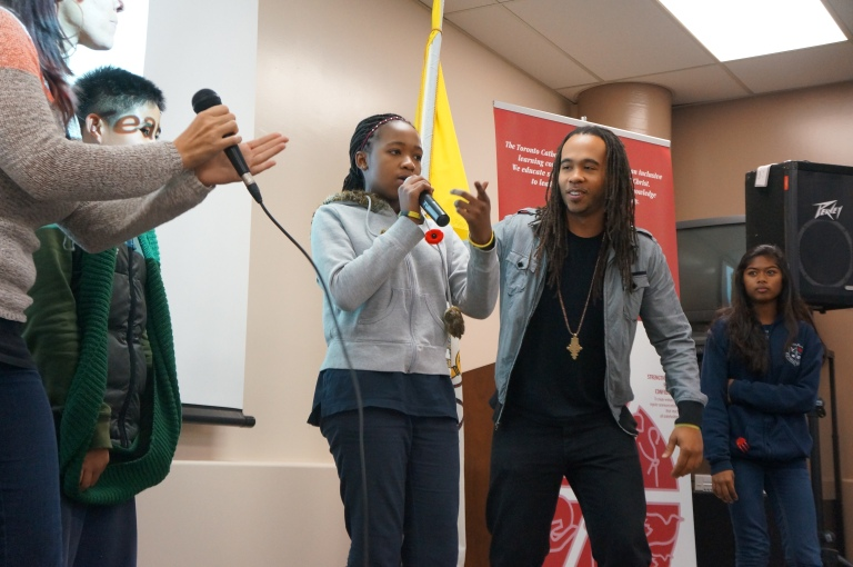 Check it out! Here's a volunteer showing off their rapping skills!