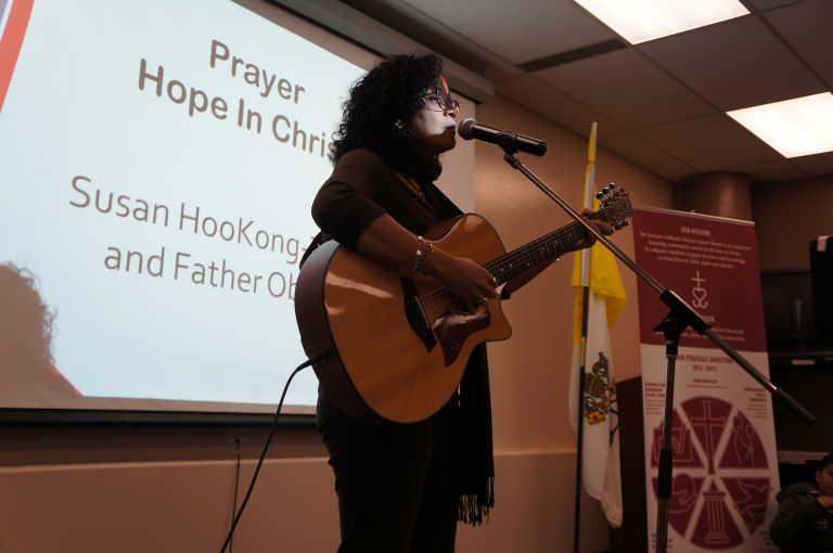 Susan teaching everyone an amazing song called, Hope In Christ.