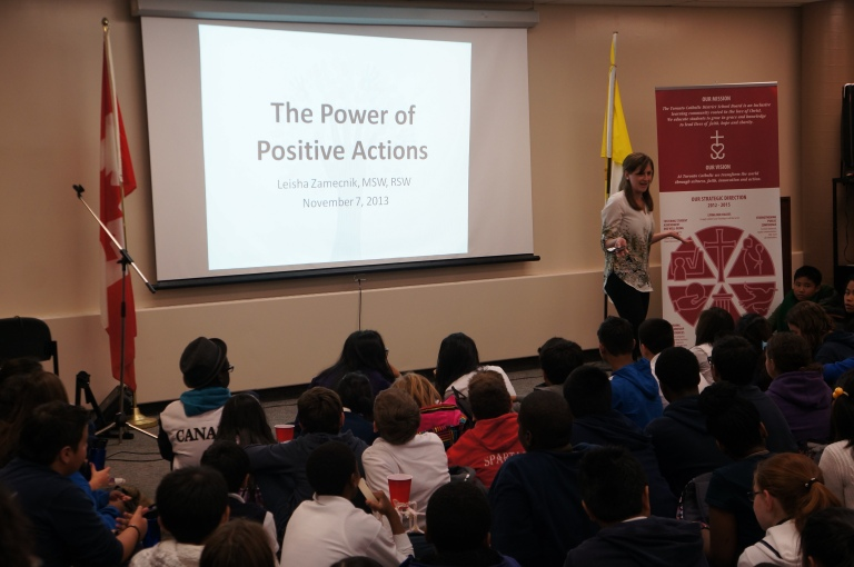 Our guest speaker, Leisha Zamecnik, from Spreading Compassion, explains how important our actions are.