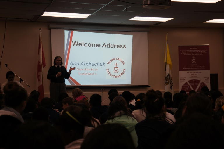 Ms. Ann Andrachuck, the Chair of the Board welcomes all the elementary student leaders and teachers. She shares a few words on leadership! :)