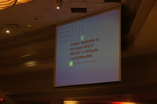 Look! Greg's Tweet made it on the big screen!