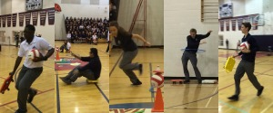 In between each point of how to show school spirit, we got student volunteers to run a relay race!