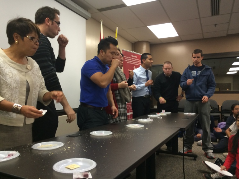 This month we added a new activity called, Teacher team building. Teachers had to eat 7 crackers and then blow a bubble.