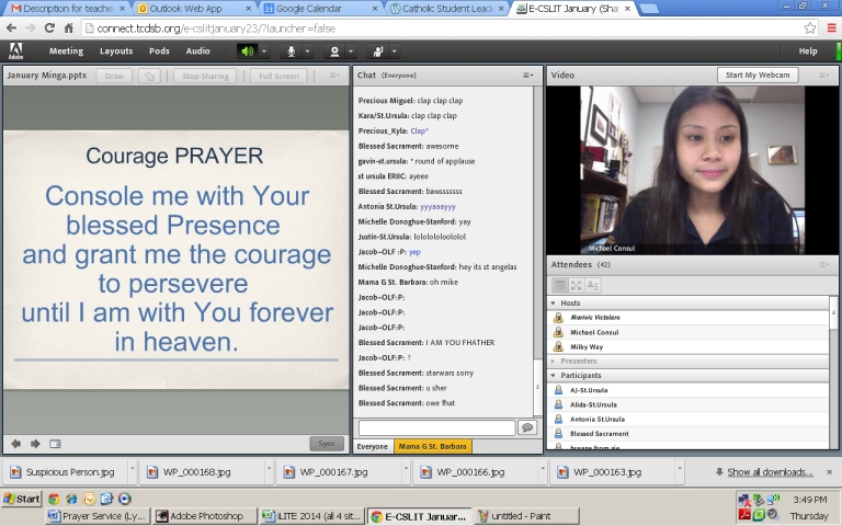 It's 3:45 and the online meeting begins! :) Marivic begins the meeting with a prayer.