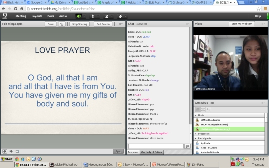 Guess who made it on time for the official online meeting? IT'S KIT-KAT! And she leads us on prayer.