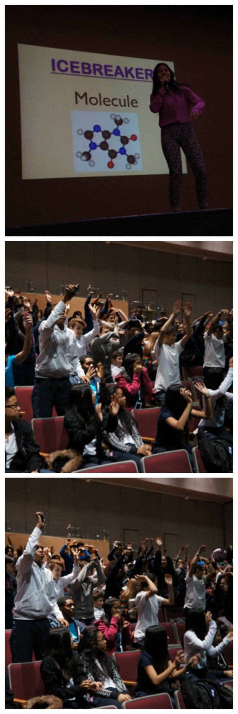 Since the students were in Cardinal Carter's auditorium, Marivic could not have the students play her original ice breaker: molecule. Instead, she had them do the wave!